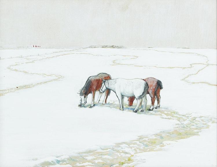 Artwork by William Kurelek,  Snow Showers and Horses Foraging
