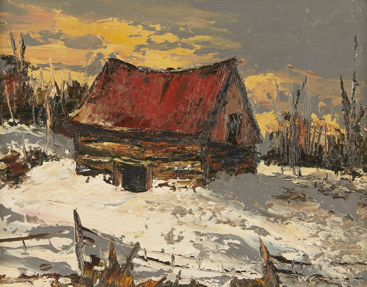 Artwork by Wilf Frank Griffiths ,  Log Barn Near Ottawa; Trees in Winter Newmarket