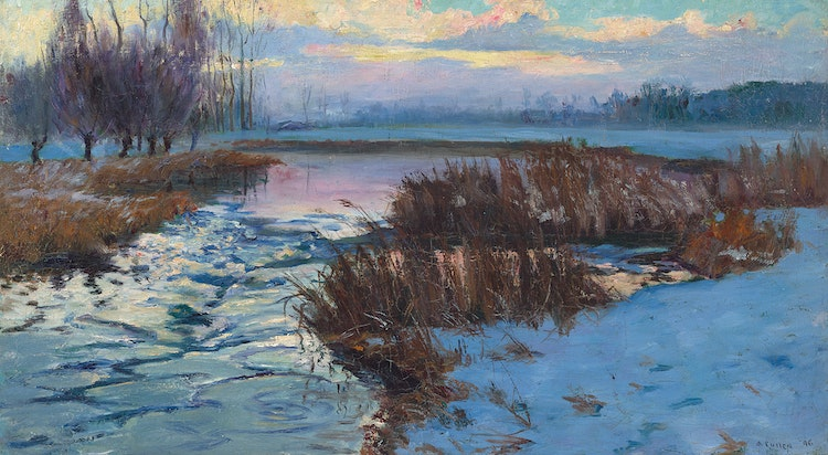 Artwork by Maurice Galbraith Cullen,  Wintery Marshes, Quebec
