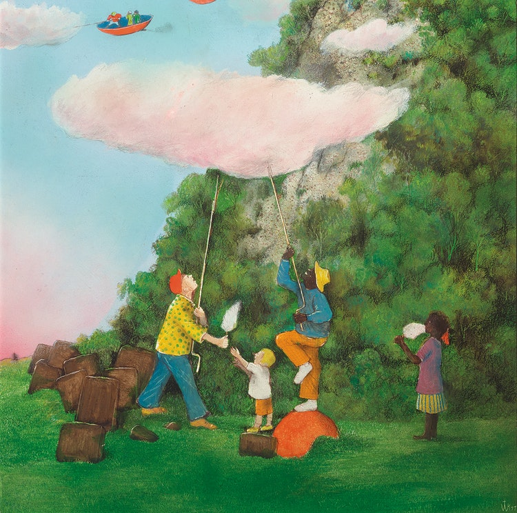 Artwork by William Kurelek,  Candy Floss Clouds