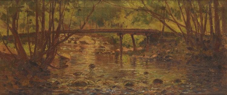 Artwork by George Agnew Reid,  Wooden Bridge, Near Stoney Lake