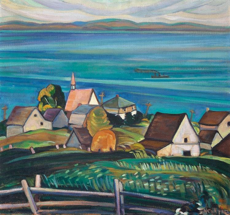 Artwork by Nora Frances Elisabeth Collyer,  Village on the St. Lawrence River