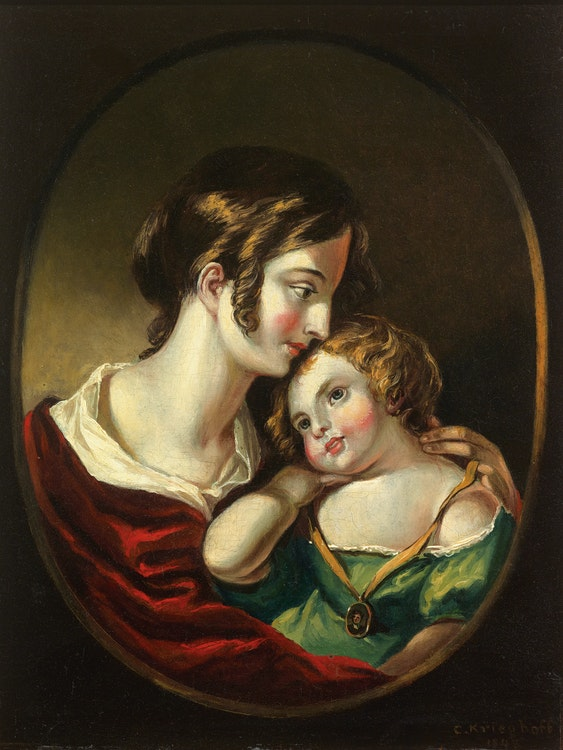 Artwork by Cornelius Krieghoff,  Louise and Emilie (Portrait of the Artist's Wife and Daughter)