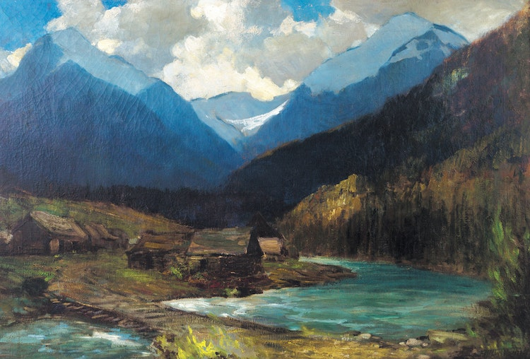 Artwork by Frederic Marlett Bell-Smith,  Logging Camp, British Columbia