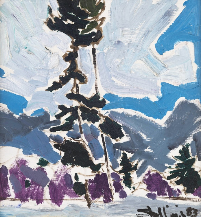 Artwork by Arthur Shilling,  Fir Tree with Clouds