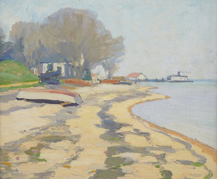 Artwork by Frederick Stanley Haines,  Beach Scene with Ferry
