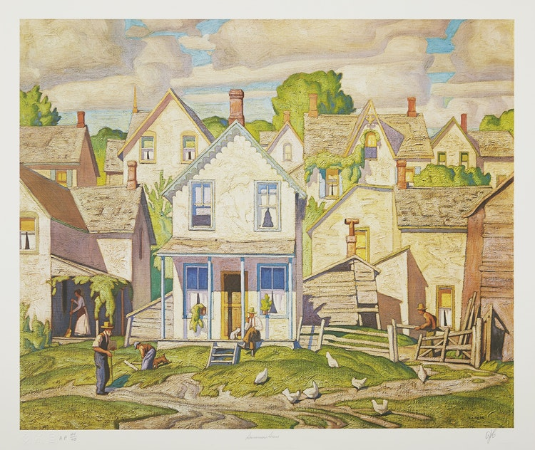 Artwork by Alfred Joseph Casson,  Summer Sun; House at Parry Sound; Summer Storm