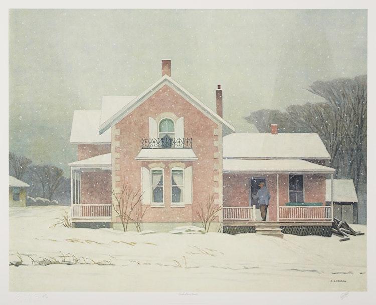 Artwork by Alfred Joseph Casson,  Pink Farm House; Parry Sound; Poplar Grove