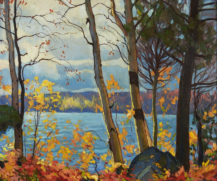 Artwork by Frederick Stanley Haines,  Lakeside Landscape