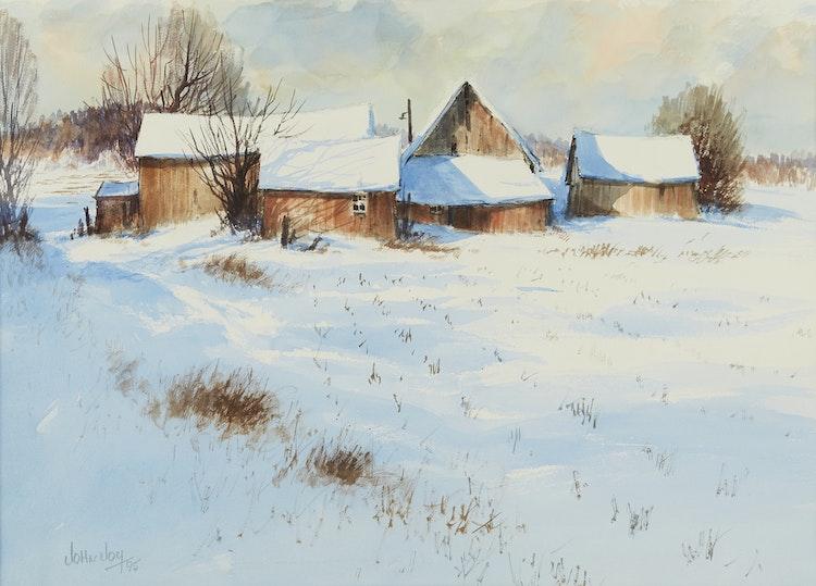 Artwork by John Joy,  Farm in Winter