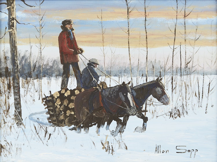 Artwork by Allen Sapp,  Red Pheasant Reserve - The Way it Used to Be