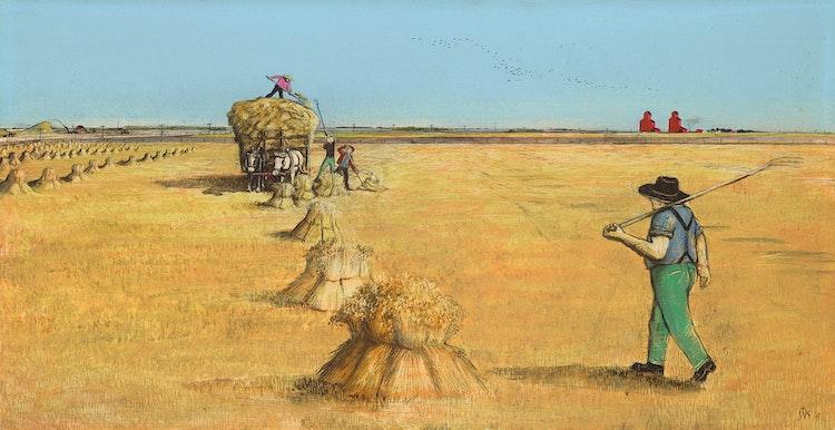 Artwork by William Kurelek,  Hauling Hay