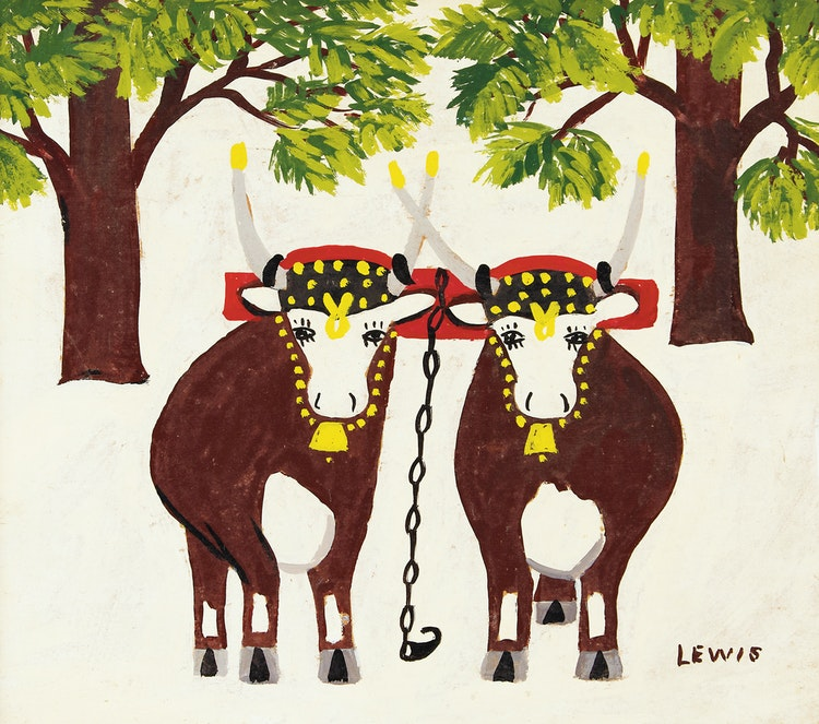 Artwork by Maud Lewis,  Oxen in Winter