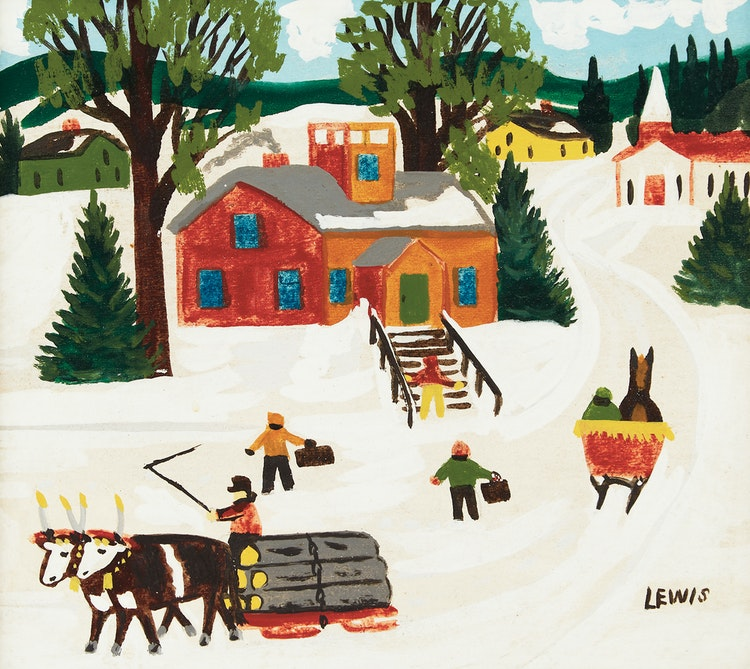 Artwork by Maud Lewis,  School House in Winter