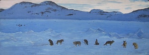Artwork by William Kurelek, Huskies Howling to be Free, Cape Dorset, N.W.T.