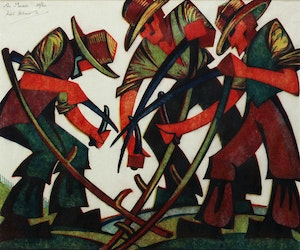 Artwork by Sybil Andrews, The Mowers