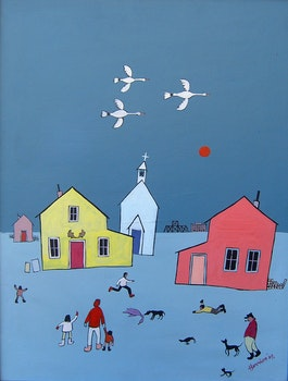 Artwork by Ted Harrison, The Purple Goose