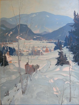 Artwork by Eric Riordon, Sleigh in Winter