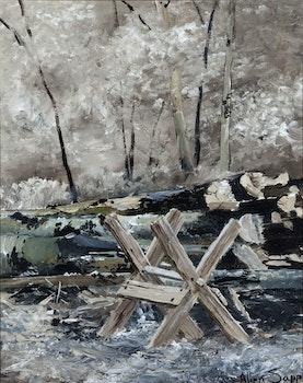 Artwork by Allen Sapp, Wood Pile