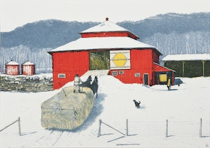 Artwork by William Kurelek, Snowfall Ending on Quebec/Ontario Border