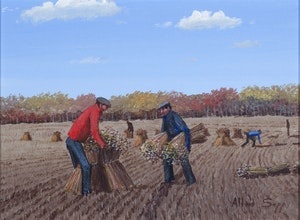 Artwork by Allen Sapp, Men Stooking