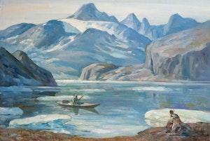 Artwork by Adam Sherriff Scott, Inuit Paddling on Inlet