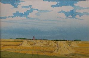 Artwork by Robert N. Hurley, Untitled (Fall-Wheat Sheaves)