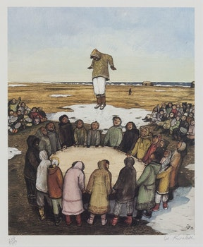 Artwork by William Kurelek, Trampoline Game
