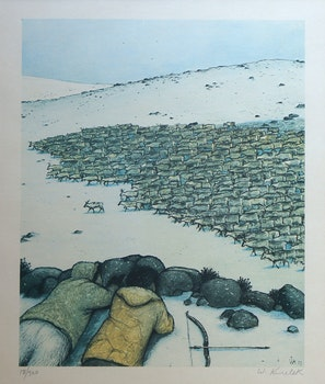 Artwork by William Kurelek, Stalking Migrating Caribou