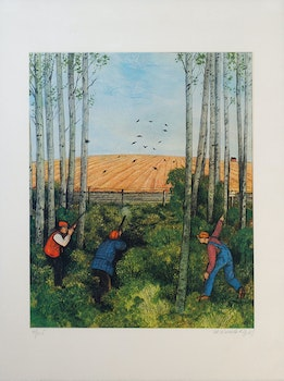 Artwork by William Kurelek, Shooting Over the Field