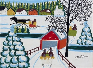 Artwork by Maud Lewis, Covered Bridge With Three Sleighs