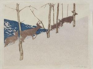 Artwork by Walter Joseph Phillips, Deer on Hillside