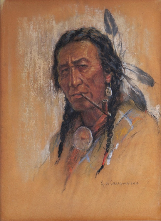 Artwork by Nicholas de Grandmaison,  Untitled (Indian with Pipe)