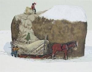 Artwork by William Kurelek, Loading Hay