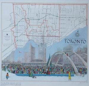 Artwork by William Kurelek, Map of Toronto