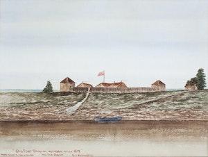 Artwork by Ernest John Hutchins, Old Fort Douglas, Red River Valley, 1817