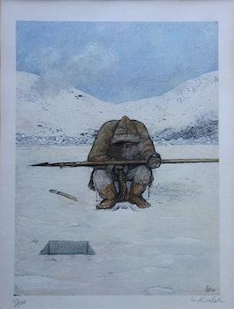 Artwork by William Kurelek, Hunter at Breathing Hole