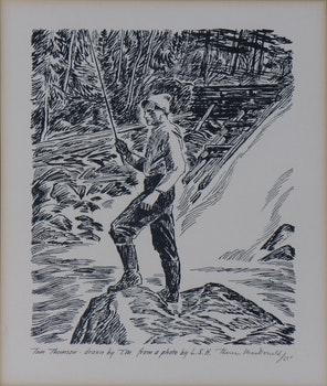 Artwork by Thoreau MacDonald, Tom Thomson Litho (and four ink drawings)