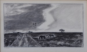 Artwork by Thoreau MacDonald, Fall Evening, Thornhill (and four drawings)