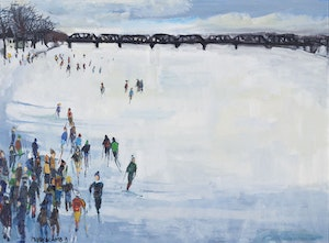 Artwork by Molly Lamb Bobak, Skaters and Skiers