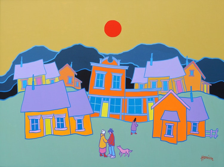 Artwork by Ted Harrison,  Village Greeting