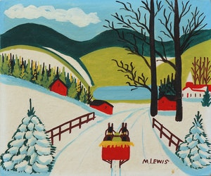 Artwork by Maud Lewis, Red Sleigh in Winter