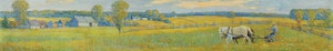 Artwork by Frederick William Hutchison, Cutting the Mid Summer Hay