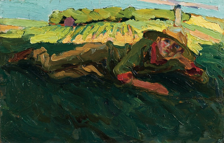 Artwork by Tom Thomson,  Daydreaming (Portrait of Thoreau MacDonald)