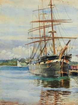 Artwork by Alexander Young Jackson, Ship in Port (Pictou, N.S.)