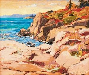Artwork by Horace Champagne, Pink Granite Cliffs At Cap Bon Desire (Near Tadoussac, Quebec), 1997