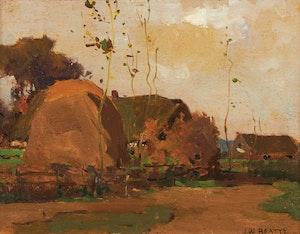 Artwork by John William Beatty, Village in Autumn
