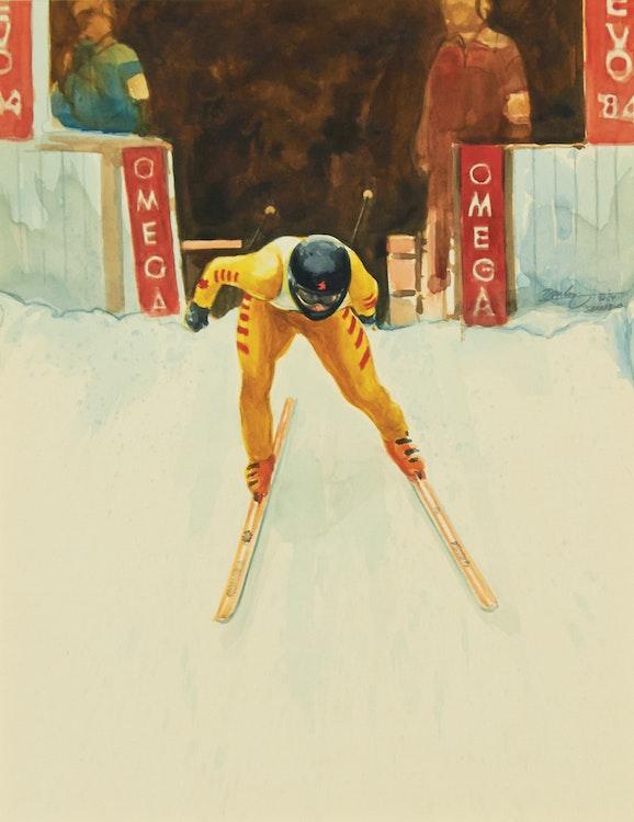Artwork by Kenneth Danby,  Podborski's Start (Sarajevo Olympics), 1984