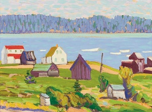 Artwork by Illingworth Holey Kerr, Fishing Village, Nova Scotia