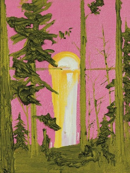 Artwork by Kim Dorland, Untitled (Pink and Green Sunset)